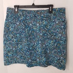 Croft & Barrow Skort Blue Paisley Stretch